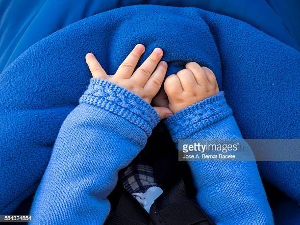 Hands of a European newborn child warm with a sweater