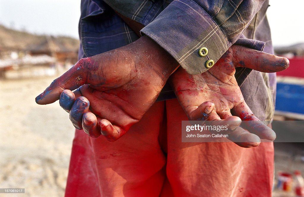 hands of a fisherman. : Stock Photo