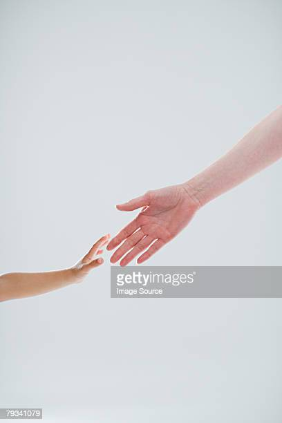 Hands of adult and child