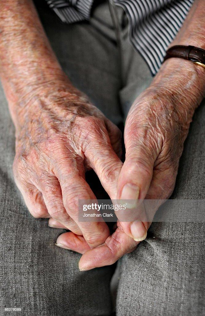 Hands of an elderly woman : Stock Photo