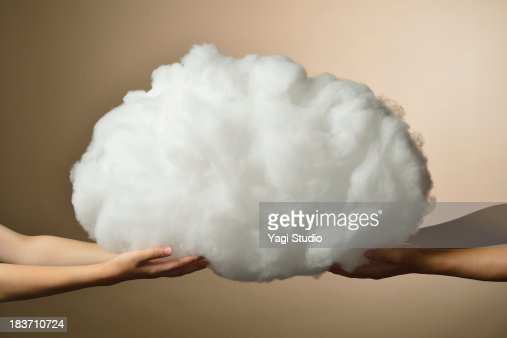Hands of men and women and cloud