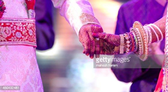 Hands of the bride & groom, wedding,India : Stock Photo