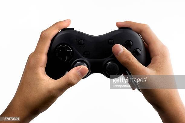 Mãos sobre um genérico de gamepad