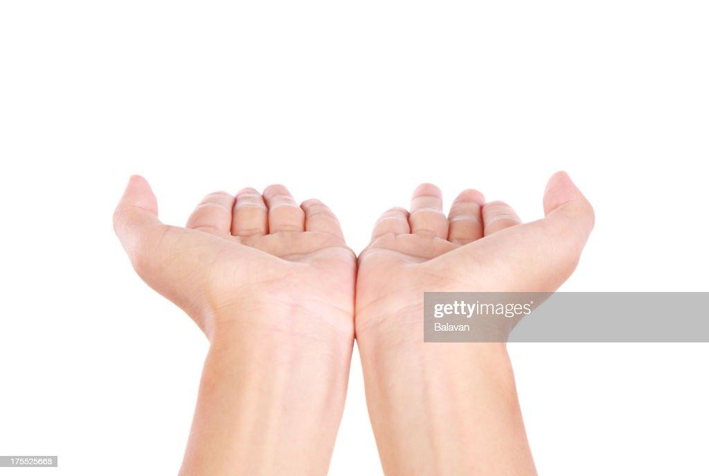 Hands open on white background-XXXL