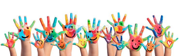 Hands Painted With Smileys : Stock Photo