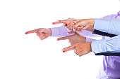 Group of hands pointing like a gun (selective focus)