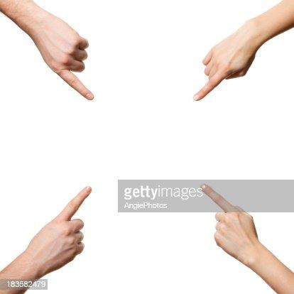 指を指す手に人差し指