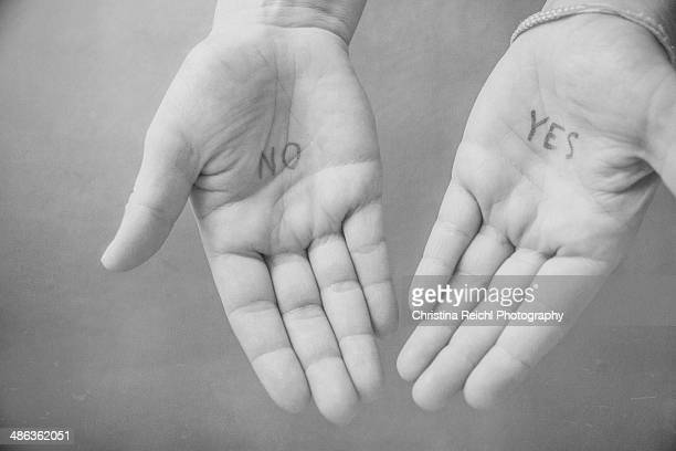 Hands saying 'Yes' or 'No'