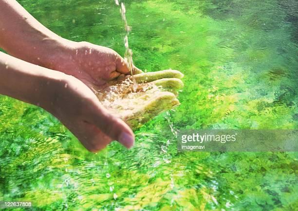 Hands scooping up water