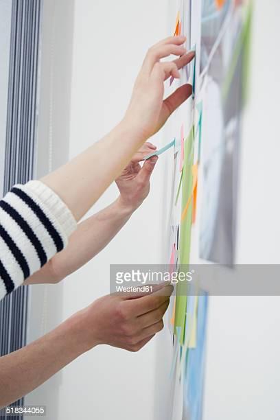 Hands sticking adhesive notes at wall