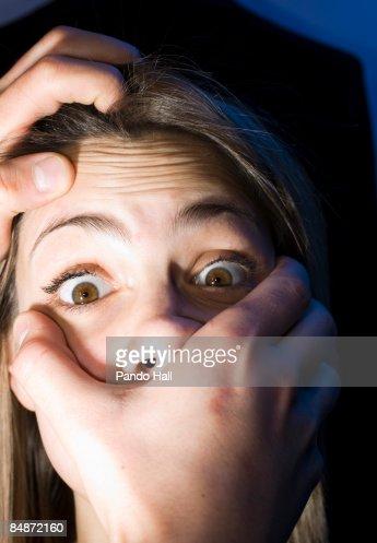 Hands strangling woman, close-up : Stock Photo