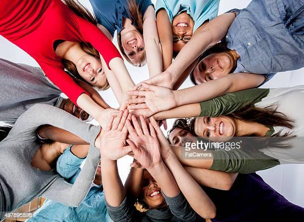 Hands Together in a Huddle