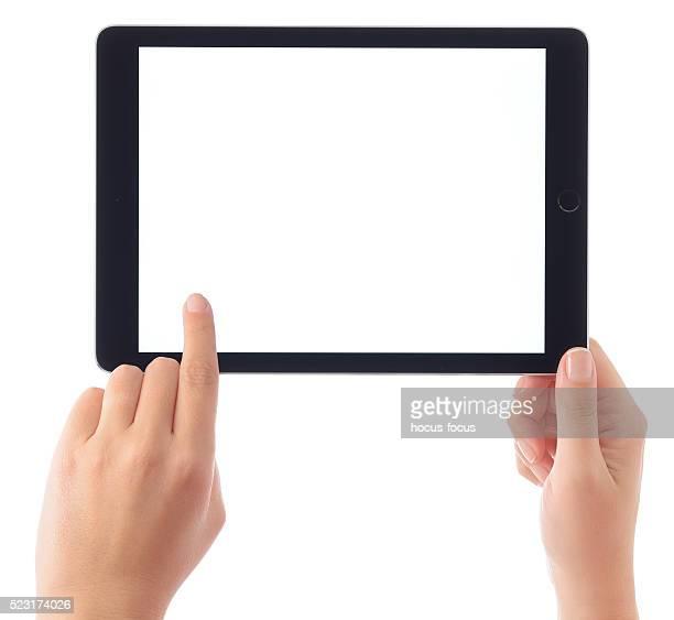 Hands touching blank white screen iPad Air