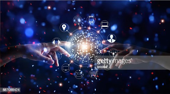 Hands touching global connection and icon customer networking data exchanges on glitter bright lights colorful background : Foto de stock