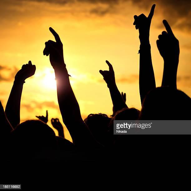 Hände in einem open-air-rock festival
