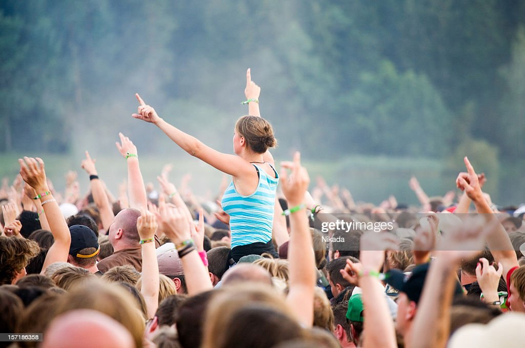 hands up - rock festival : Stock Photo