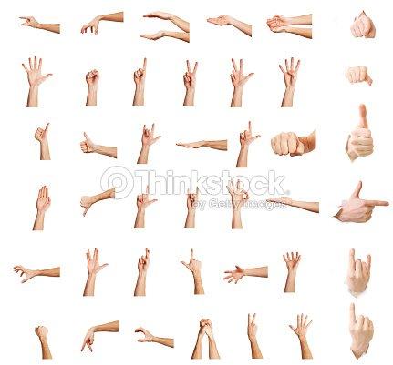 白い背景に、複数の画像の設定を分離した複数の白人男性の手ジェスチャーを手 : ストックフォト