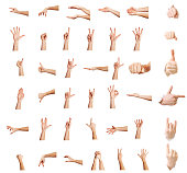 Hands up,Multiple male caucasian hand gestures isolated over the white background, set of multiple images