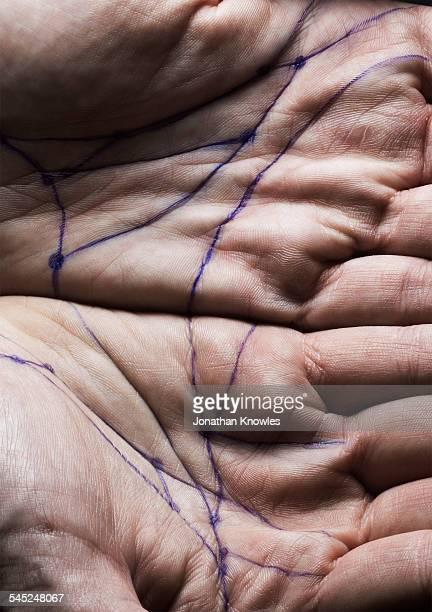 Hands with lines and dots at connection points