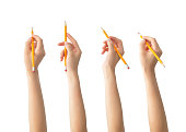 Hands with pencils set , clipping path