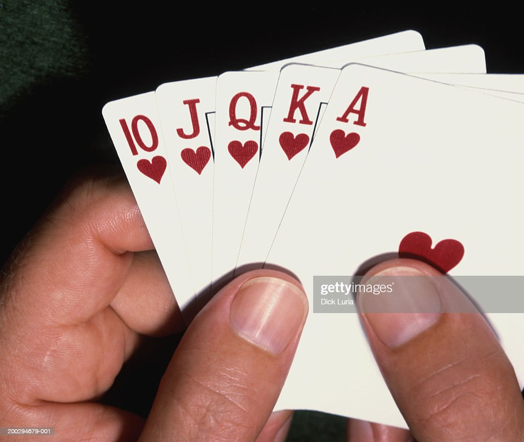 hands with playing cards : Stock Photo