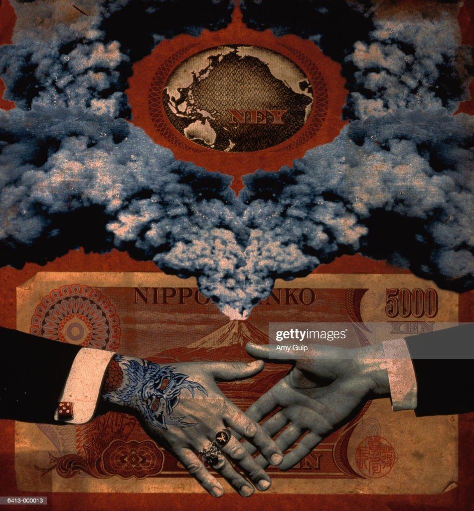 Handshake and Yen : Stock Photo