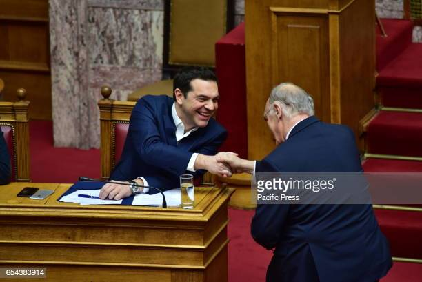 PARLIAMENT ATHENS ATTIKI GREECE Handshake between Greek Prime Minister Alexis Tsipras and Vassilis Leventis President of Central Union party In the...