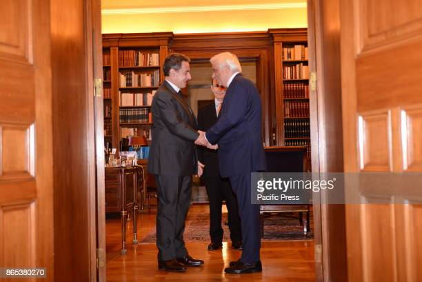 MANSION ATHENS ATTIKI GREECE Handshake between Nicola Sarkozy former President of French Republic and Prokopis Pavlopoulos President of Hellenic...
