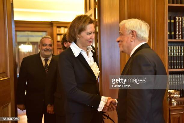 MANSION ATHENS ATTIKI GREECE Handshake between President of Hellenic Republic and of the Deputy Director of the International Organization for...