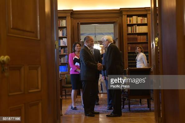 MANSION ATHENS ATTIKI GREECE Handshake between President of Hellenic Republic Mr Prokopis Pavlopoulos and of General Governor of New Zealand...