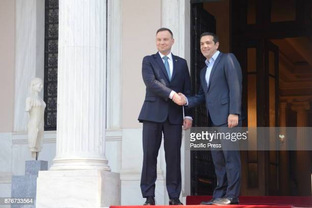 MANSION ATHENS ATTIKI GREECE Handshake between President of the Republic of Poland Andrzej Duda and Greek Prime Minister Alexis Tsipras before their...