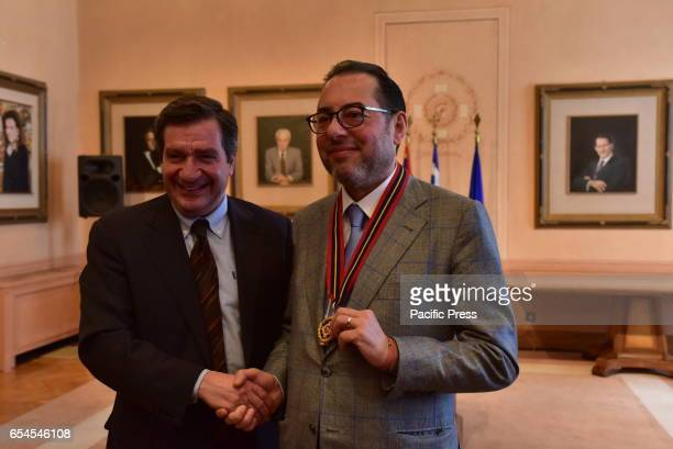 ATHENS ATHENS ATTIKI GREECE Handshake between the President of the Socialists and Democrats in the European Parliament Gianni Pittella and Mayor of...