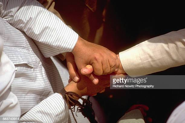 A handshake closes a deal at the Imbabah camel market in Cairo Egypt | Location Imbabah quarter Cairo Egypt