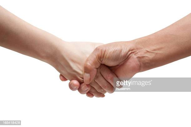 Handshake (Clipping path!) isolated on white background
