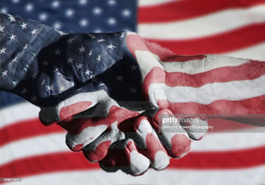 Handshake melded with American flag : Stock Photo