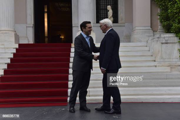 MANSION ATHENS ATTIKI GREECE Handshake of Greek Prime Minister Alexis Tsipras with the President of the Federal Republic of Germany FrankWalter...