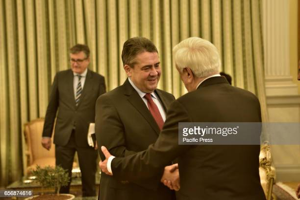 MANSION ATHENS ATTIKI GREECE Handshake of Minister of Foreign Affairs of Federal Republic of Germany Sigmar Gabriel and of President of Hellenic...