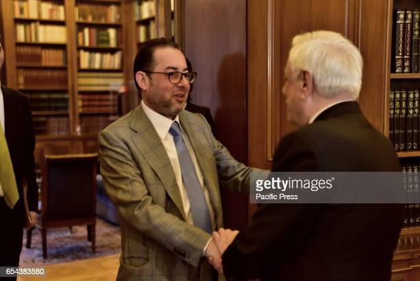 MANSION ATHENS ATTIKI GREECE Handshake of President of the Socialists and Democrats in the European Parliament Gianni Pittella and President of...