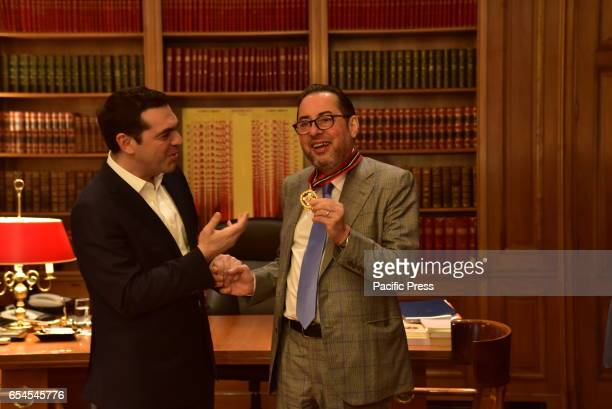 MANSION ATHENS ATTIKI GREECE Handshake of the Greek Prime Minister Alexis Tsipras with the President of the Socialists and Democrats in the European...