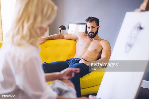 Handsome artist's model