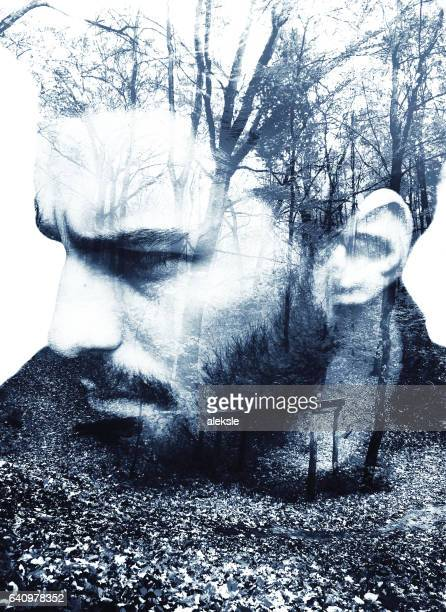 Handsome bearded man, double exposure