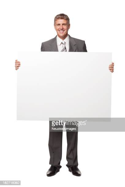 Handsome Businessman Holding Blank Sigm. Isolated
