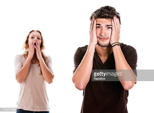 Handsome couple are extremely upset by something