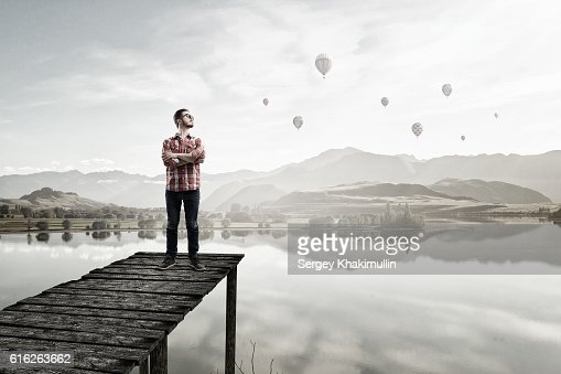 Handsome hipster guy . Mixed media : Stock Photo