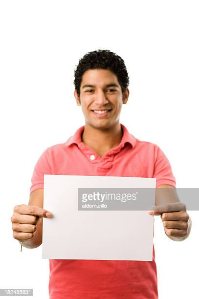 Handsome man holding a blank paper