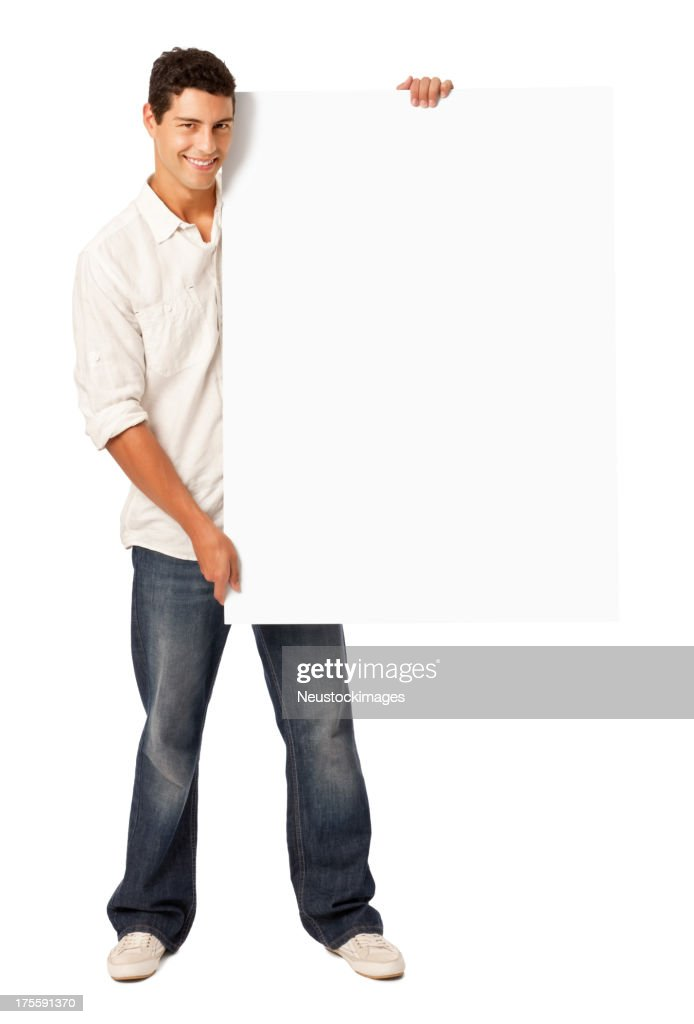 Handsome Man Holding Blank Sign - Isolated : Stock Photo