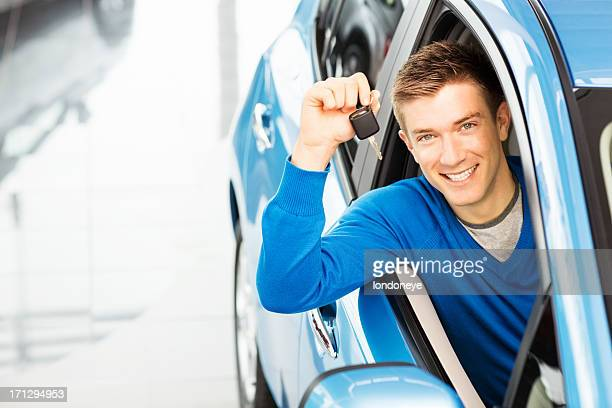 Handsome Man Holding Car Key