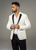 Handsome man wear white jacket