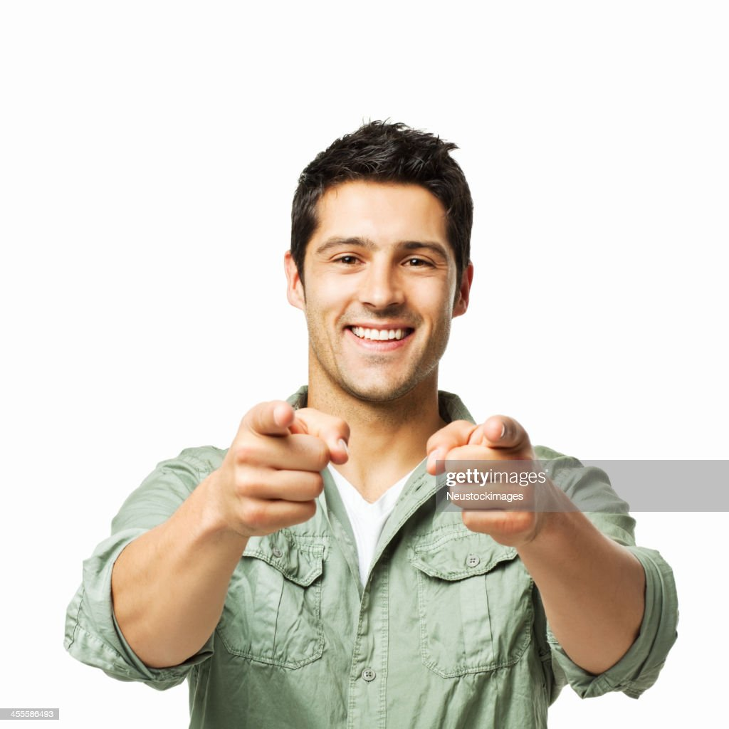 Handsome Man Pointing Towards the Camera - Isolated