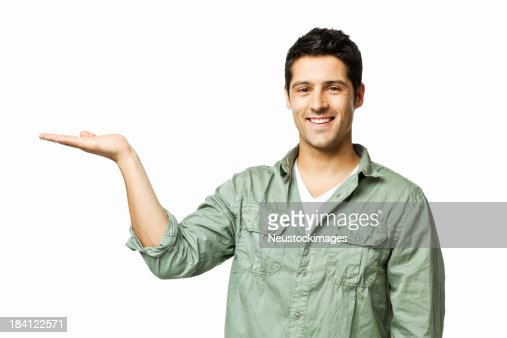 Handsome Man Presenting to the Side - Isolated